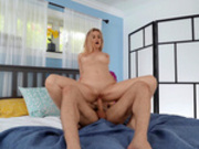 Addie Andrews cowgirl riding her limo driver on the bed
