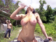 Busty Kendra Lust teasing the poor farmer boy