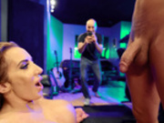 Richelle Ryan gets photographed right after taking a facial cumshot in the music studio