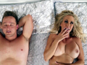 Satisfied milf Brandi Love relaxes after a facial cumshot from young Van Wylde