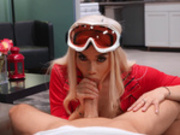Snow bunny Victoria June slobbers all over Scott Nails' huge cock