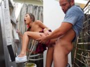 Asian Vina Sky gets fucked standing doggy style outdoor