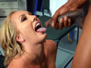 Brett Rossi tasting fresh cum from her office boyfriend at work