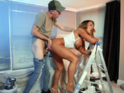 Hot milf Aubrey Black gets slammed by Danny D standing on a ladder