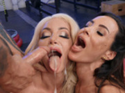 Lisa Ann and Nicolette Shea sharing some cum in the gym