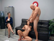 Teacher Katana Kombat receives a facial cumshot from fellow teacher Jmac