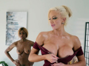 Nicolette Shea is impressed with her masseuse Kinsley Karter's performance