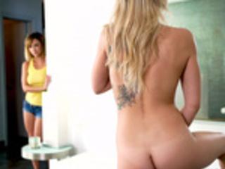Dillion Harper spying on her stepsister Zoey Monroe while she masturbates